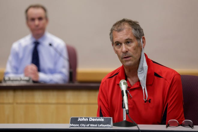 West Lafayette Mayor John Dennis speaks during a press conference at the Tippecanoe County Office Building, Wednesday, Aug. 12, 2020 in Lafayette.
