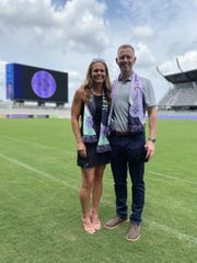 Racing Louisville FC coach Christy Holly and his fiance, Christie Pearce, former captain of the U.S. women's national soccer team