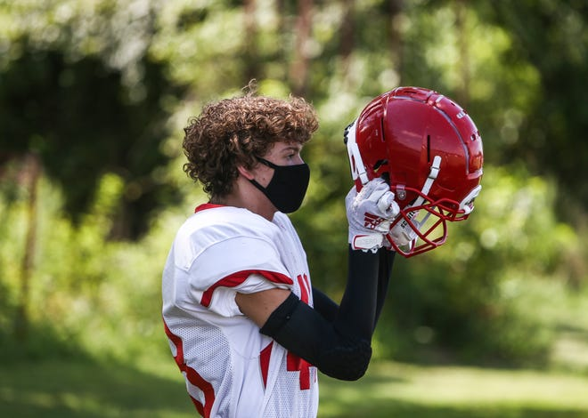 Sophomore Joseph Herthel was the lone player to wear a face mask while practicing with his football team. August 11, 2020