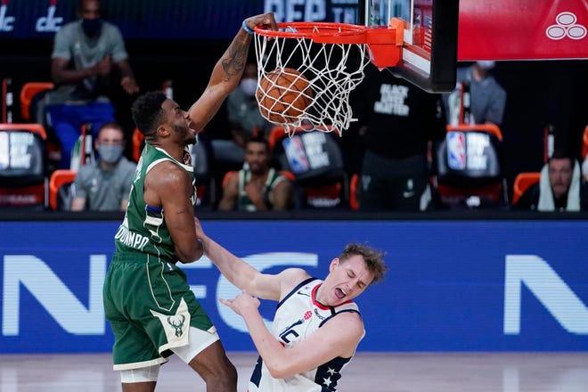 Milwaukee Bucks forward Thanasis Antetokounmpo has become a fan favorite because of his spectacular dunks.
