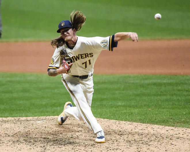 Brewers closer  Josh Hader pitches the ninth inning  an gets his third save Tuesday night.