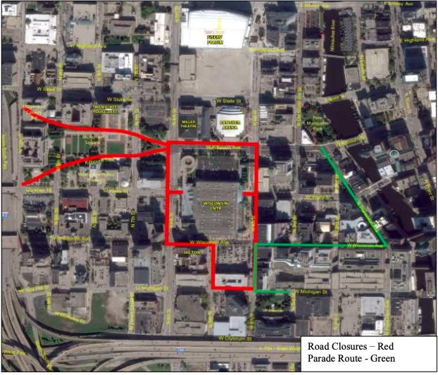 Law enforcement agencies released the map of street closures and a parade route during the days surrounding the Democratic National Convention.