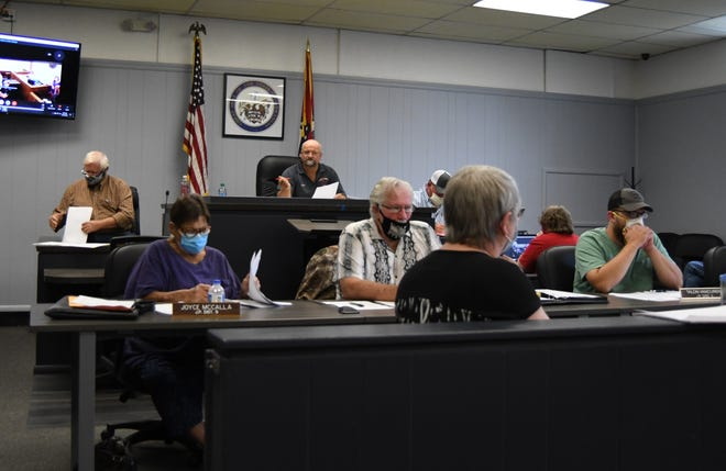 The Marion County Quorum Court meets Tuesday night in the Marion County Courthouse. County officials announced at the meeting that they hoped the remaining $150,000 deficit in the county's 2020 budget could be addressed with hiring freezes and wage freezes.