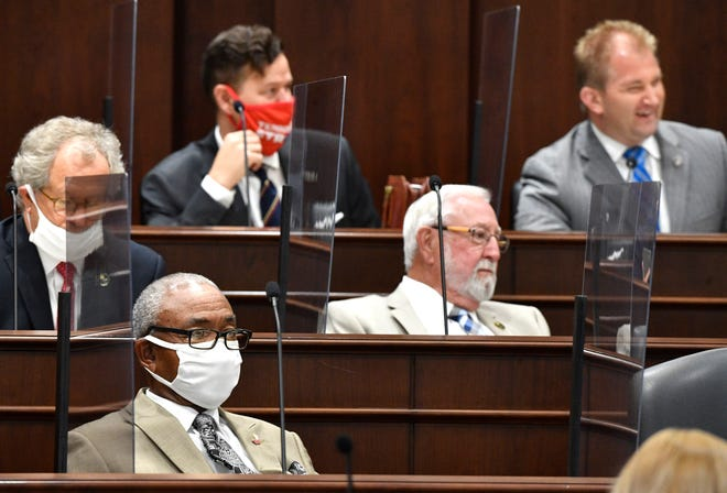 Some lawmakers wear masks and some choose not to during a 3 day Legislative special session in Nashville, Tenn. Wednesday, Aug. 12, 2020