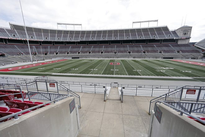 An empty Ohio Stadium on the campus of Ohio State University on August 11, 2020.