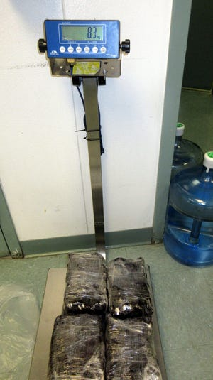 Border Patrol agents working the checkpoint near Alamogordo confiscated 17 pounds of methamphetamine with an estimated street value of $600,000.