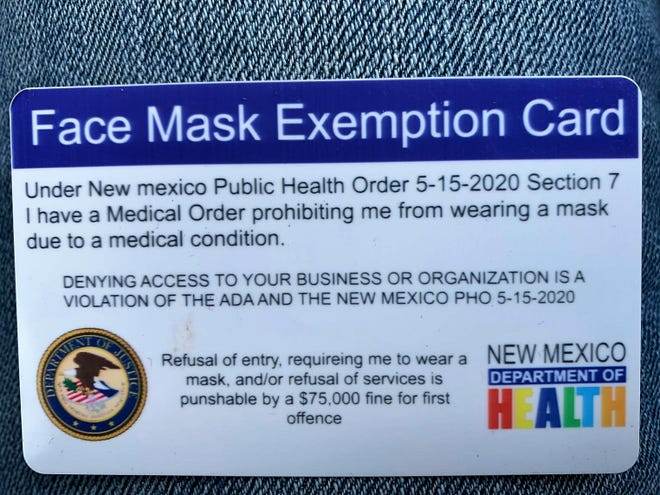 A counterfeit mask purportedly authorized by the New Mexico Department of Health and the U.S. Department of Justice falsely claims to protect the bearer from face mask requirements under COVID-19 emergency public health orders.