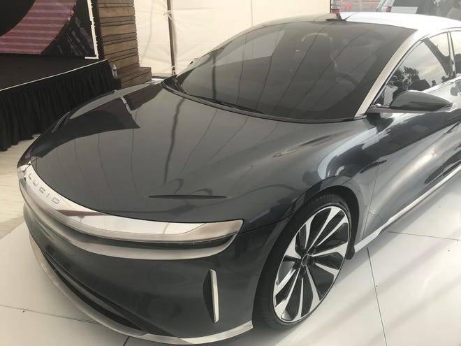 Lucid unveiled its new luxury Air model at a groundbreaking for its Casa Grande factory.