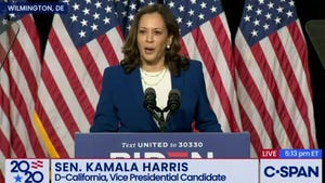 Kamala Harris makes her first speech on Aug. 12, 2020, as the Democrats' vice presidential nominee.