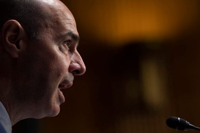 Labor Secretary Eugene Scalia testifies during a Senate Finance Committee hearing on COVID-19/Unemployment Insurance on Tuesday, June 9, 2020 on Capitol Hill in Washington. D.C. (Caroline Brehman/Pool/Getty Images/TNS)
