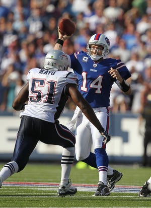 Bills QB Ryan Fitzpatrick threw for 369 yards in Buffalo's shocking 34-31 victory over the Patriots in 2011.