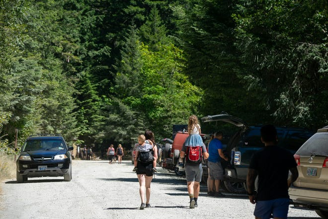 Crowds have been thick at Opal Creek Trailhead this summer. Picture taken July of 2020.