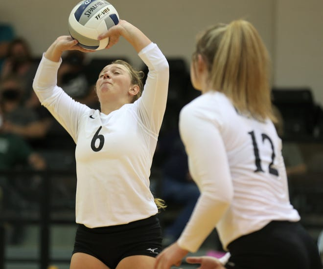 Water Valley High School's Alyssa Urbantke gets ready to set the ball for Kalysta Minton-Holland during a 25-16, 25-20, 18-25, 25-12 victory at home against Grape Creek in the season opener Tuesday, Aug. 11, 2020.