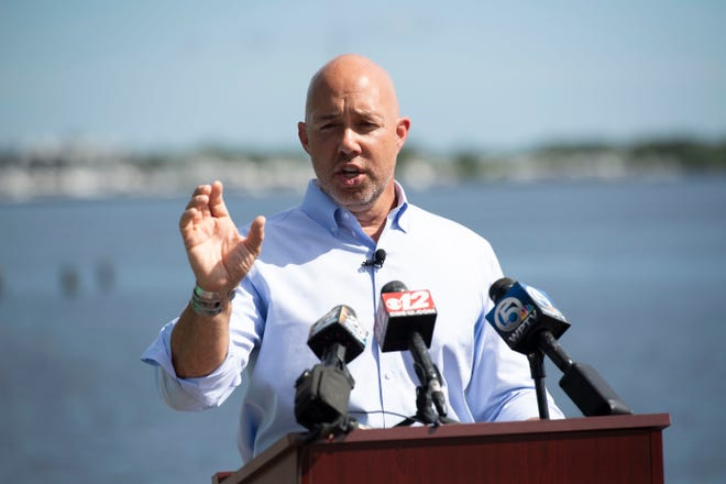 U.S. Rep. Brian Mast introduces new water legislation Wednesday, Aug. 12, 2020, along the St. Lucie River in Stuart.