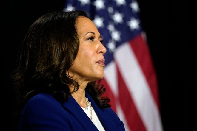 Sen. Kamala Harris, D-Calif., is introduced as former Vice President Joe Biden's running mate at A.I. du Pont High School in Greenville, Del., on  Aug. 12.