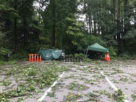 Views of the aftermath of Friday's storm, which spawned a hurricane that touched down near Mount Cuba nature center, causing significant damage.