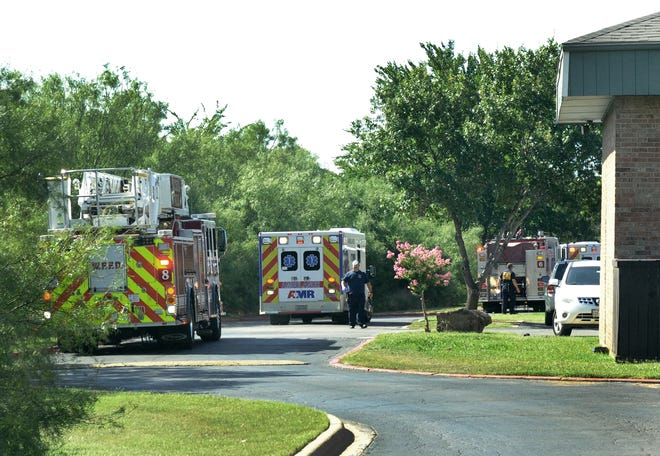 Wichita Falls emergency responders work the scene of a possible accidental shooting Wednesday morning.