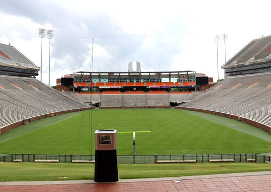 A view of Clemson Memorial Stadium on the campus of Clemson University on June 10, 2020.