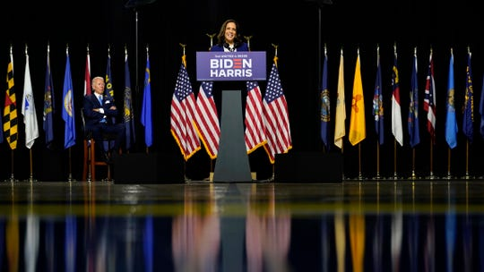 Sen. Kamala Harris, D-Calif., speaks after Democratic presidential candidate former Vice President Joe Biden introduced her as his running mate during a campaign event at Alexis Dupont High School in Wilmington, Del., Wednesday, Aug. 12, 2020.