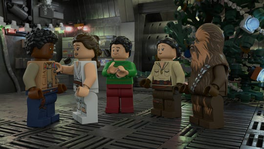 """Finn, Rey, Poe Dameron, Rose Tico and Chewbacca gather for Life Day festivities in the upcoming """"The Lego Star Wars Holiday Special"""" on Disney+."""