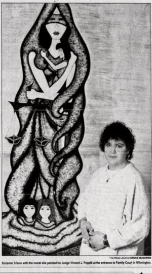 This photo appeared in the Wilmington News Journal about a series of murals that then Delaware state inmate Suzanne Triano painted at the courthouse of the judge who sentenced her to life in prison for the 1984 murder of her stepfather. [COURTESY OF DELAWARE NEWS JOURNAL ]
