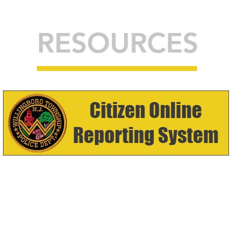 The logo for the Willingboro Police Department's Citizen Online Reporting System, which is located on the department's website.