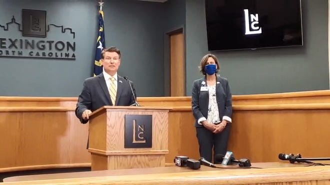 Lexington Mayor Newell Clark (left),  accompanied by Lexington City Manager Terra Greene, held a press conference to announce legal action for the removal of Confederate statue on Thursday.