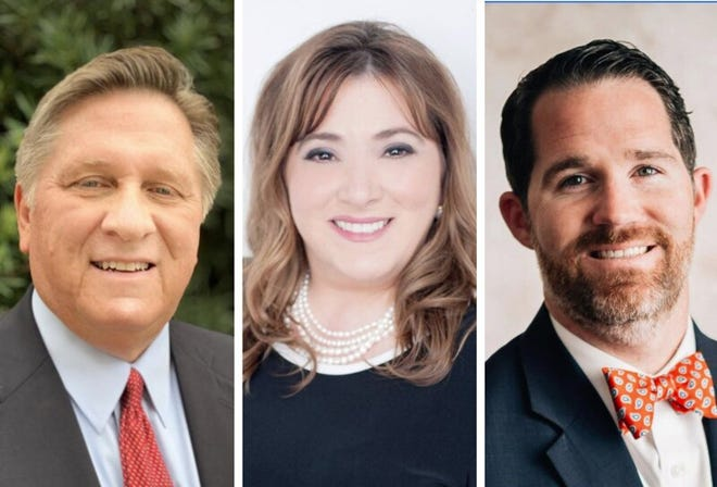 From left, George Burden, Anne Marie Gennusa and Matt Metz are the three Republicans running for public defender in 2020. They are on the Aug. 18 ballot and because no Democrats are running, their primary is open to all voters.