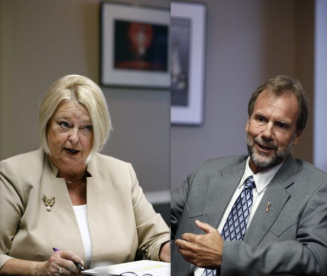 From left, Deb Denys and Jeff Brower are seen at a debate held at The News-Journal back in August.