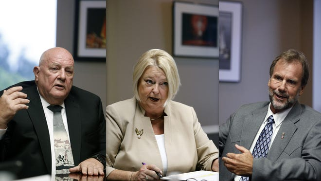 From left, Gerard Witman, Deb Denys and Jeff Brower are seen at a debate held at The News-Journal recently.