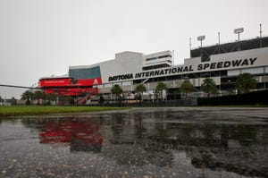Thunderstorms move across Daytona International Speedway in Daytona Beach, Thursday, August 13, 2020. [News-Journal/Nigel Cook]