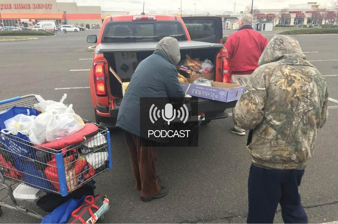 Food for homeless In parking lot
