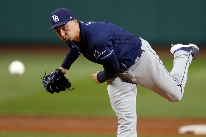 Blake Snell pitches during the second inning Wednesday night. [MICHAEL DWYER/THE ASSOCIATED PRESS]