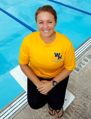 Amanda Shelby was a four-time state qualifier in swimming at Lake Region. Now she takes over coaching the Winter Haven boys team at Rowdy Gaines Pool in Winter Haven this week. [PIERRE DUCHARME/THE LEDGER]