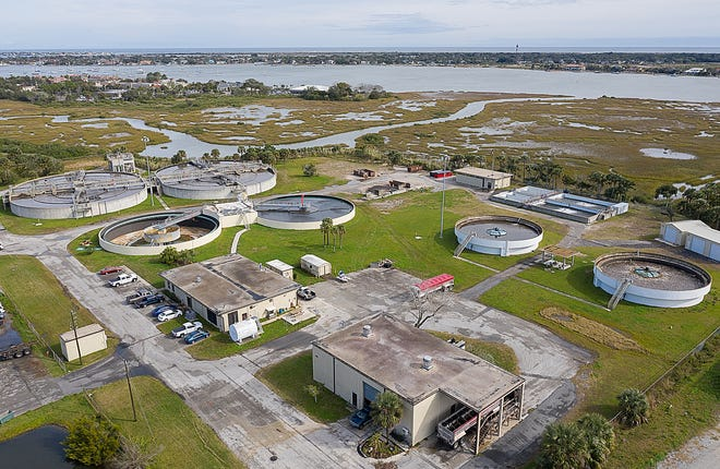 An aerial photograph shows St. Augustine's wastewater treatment plant at the end of Riberia Street in the city in 2019. [PETER WILLOTT/THE RECORD]