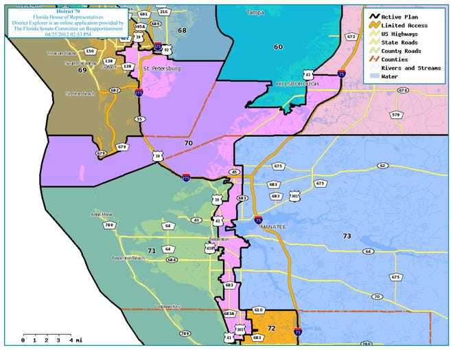 Florida House District 70, in purple, encompasses Sarasota neighborhoods and parts of Bradenton and Palmetto, but more than half of the district's voters are in south St. Petersburg and surrounding neighborhoods in Pinellas County.