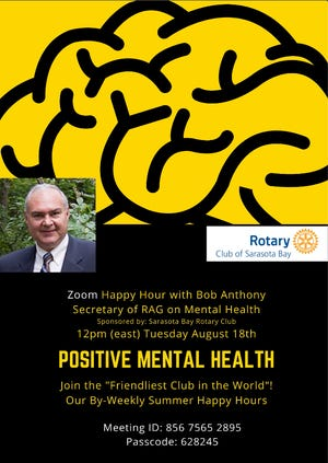 Rotary Club of Sarasota Bay is hosting a mental health virtual meeting on Aug. 18.