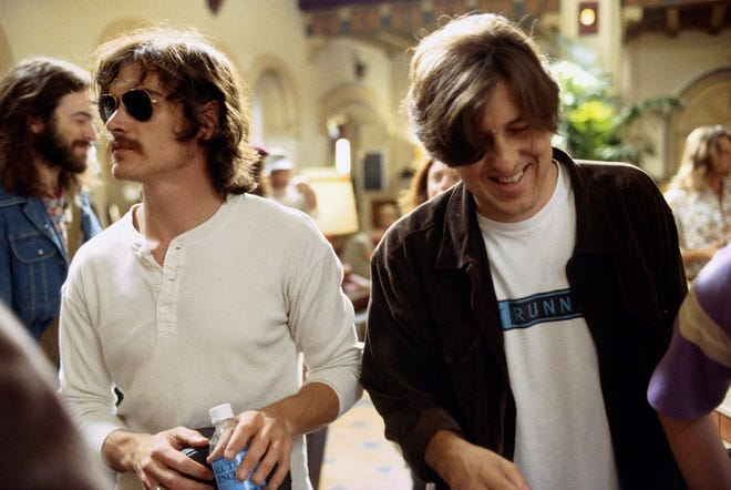 "Billy Crudup, left, and writer/director Cameron Crowe on the set of Crowe's semi-autobiographical film ""Almost Famous."""