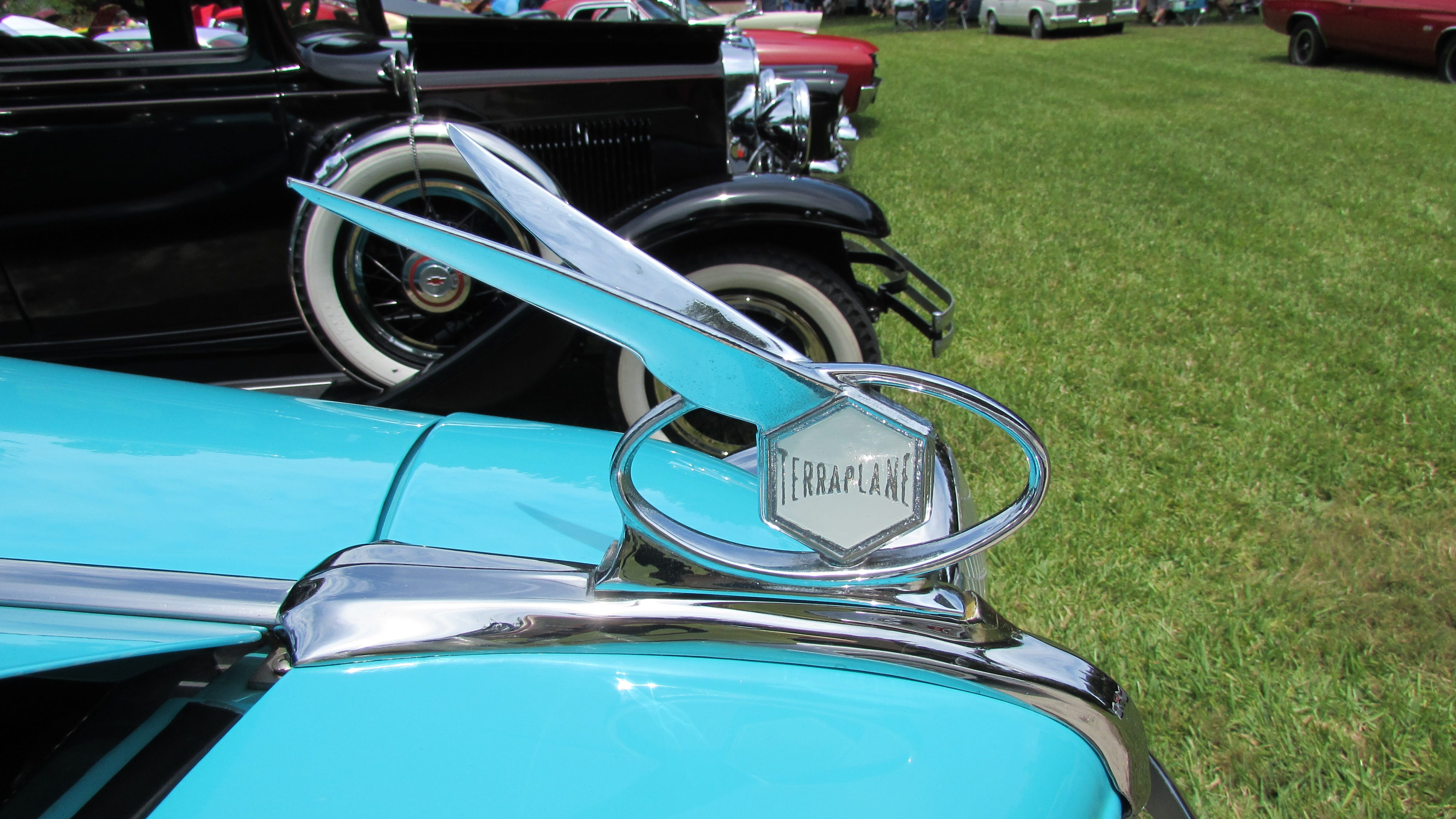 A Terraplane Car and Hood Ornament date back to the 1930s. The maker was Hudson Motor Car Company of Detroit, according to Wikipedia.
