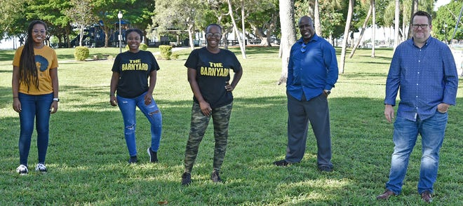 Left to right: Micaela Bartee is a licensed massage therapist/aesthetician; Ciliana Barnyard and Gladys Jean, who run The Barnyard, offering comfort gourmet food; Michael Kinsey of Michael Kinsey Photography and James Minor who started the Support Sarasota-Manatee Black Owned Business group on Facebook.