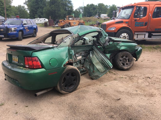 One Battle Creek man died and another was injured after this car collided with another in St. Joseph County on Wednesday.  Provided