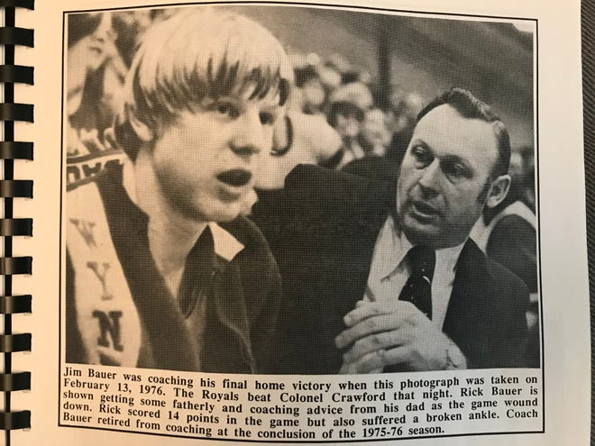 Jim Bauer's final home game was a win against rival Colonel Crawford in which his son Rick scored 14 points but also broke his ankle.