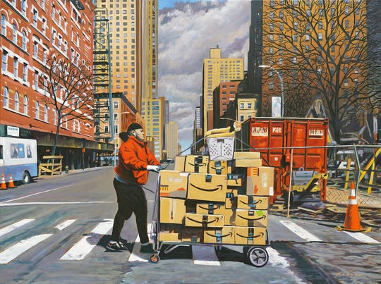 """Fanfare for the Mailman"" (W 56th & 9th Ave NYC) 2020  Oil on Canvas  30 in. x 40 in."