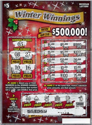 A Dickinson County man's winning instant lottery ticket worth $500,000.