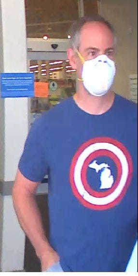 An image provided by the Oakland County Sheriff's Office shows a man suspected of taking photos underneath a woman's skirt on Aug. 11, 2020, in the Meijer store in Commerce Township.