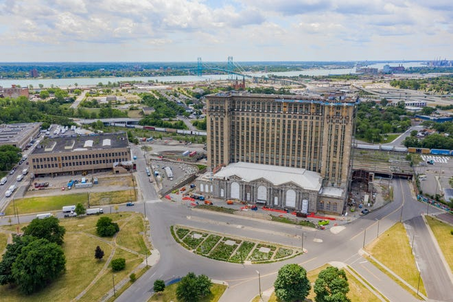 drone shot of the Michigan Central Station, centerpiece of Ford's Corktown Campus.