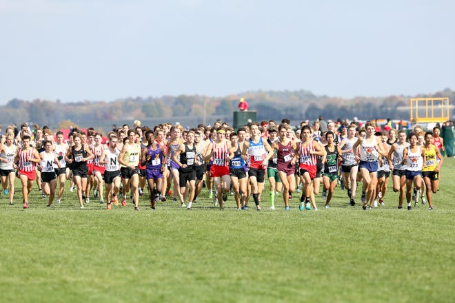 The start of the boys race at the IHSAA Boys Cross Country State Finals held at the  LaVern Gibson Championship Cross Country Course, Terre Haute, Indiana, November 2, 2019.