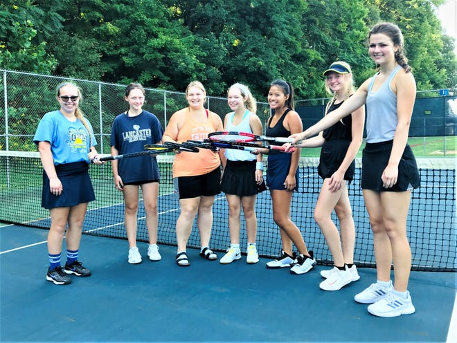 The starting lineup for the Lancaster girls' tennis team include, from left to right: Leah Watson, Lilly Robinson, Presleigh Bebout, Hannah Sheets, Gracyn Gagni, Scarlett Ward and Mallory Thomas.