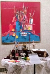 'My Brushes and My Goats' (tablesetting at Rahr-West 2019, shown with 'My Brushes & My Tiparillo,' Ron Stokes, Jody Kuchar.