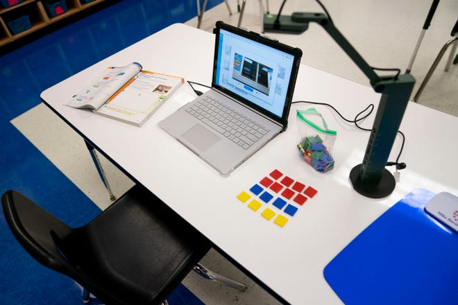 A teacher's desk is set up for Collier Connect distance learning during a tour to highlight coronavirus precautions being implemented by Collier County Public Schools throughout the district at Mike Davis Elementary School near Golden Gate on Thursday, August 13, 2020.